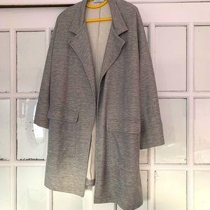 Long blazer jacket in gray oversize fit